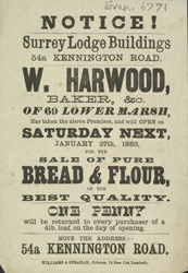 Advert for W Harwood, baker